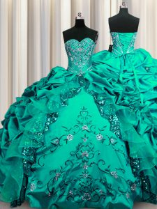 Lovely Sequins Embroidery Dark Green Sleeveless Taffeta Lace Up Quinceanera Gowns for Military Ball and Sweet 16 and Quinceanera