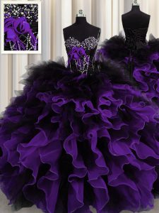 Floor Length Black And Purple Sweet 16 Dress Organza and Tulle Sleeveless Beading and Ruffles