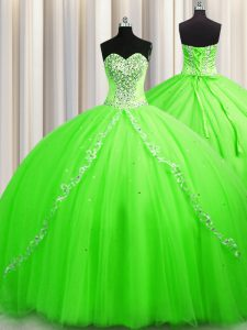 Luxurious Ball Gowns Tulle Sweetheart Sleeveless Beading Lace Up Quince Ball Gowns Brush Train