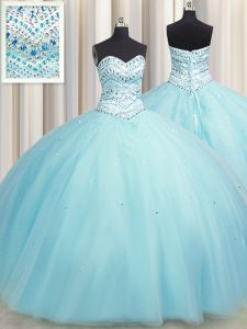Amazing Bling-bling Big Puffy Aqua Blue Tulle Lace Up Sweetheart Sleeveless Floor Length Ball Gown Prom Dress Beading