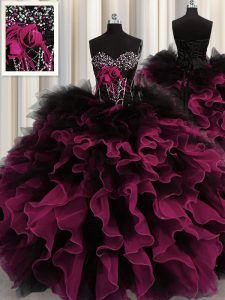 Sweetheart Sleeveless Sweet 16 Dresses Floor Length Beading and Ruffles Red And Black Organza and Tulle