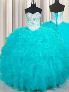 Pretty Tulle Sleeveless Floor Length Quinceanera Gowns and Beading and Ruffles