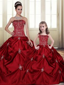 Floor Length Lace Up Vestidos de Quinceanera Wine Red for Military Ball and Sweet 16 and Quinceanera with Embroidery and Pick Ups