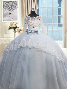 Dynamic Light Blue Quinceanera Gowns Military Ball and Sweet 16 and Quinceanera and For with Beading and Lace and Bowknot Scalloped Half Sleeves Brush Train Lace Up