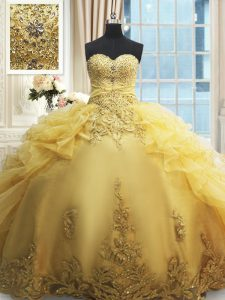 Sweetheart Sleeveless Organza Sweet 16 Quinceanera Dress Beading and Appliques and Ruffles Lace Up
