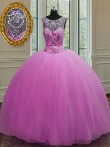Attractive Scoop Sleeveless Lace Up Sweet 16 Quinceanera Dress Lilac Tulle