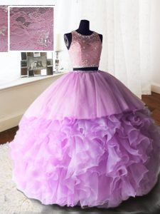 High End Lilac Scoop Zipper Beading and Lace and Ruffles Vestidos de Quinceanera Brush Train Sleeveless