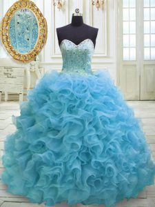 Baby Blue Quinceanera Dress Organza Sweep Train Sleeveless Beading and Sequins