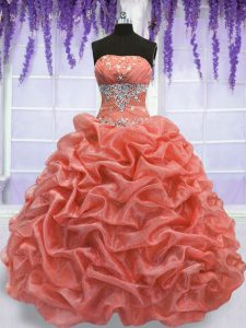 Captivating Strapless Sleeveless Organza Sweet 16 Dresses Beading Lace Up