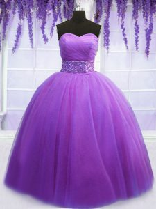 Pretty Floor Length Lace Up Quinceanera Gowns Purple for Military Ball and Sweet 16 and Quinceanera with Belt
