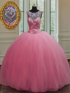 Scoop Sleeveless Lace Up Floor Length Beading Quinceanera Gowns