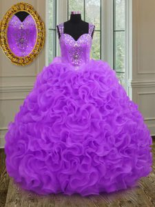 Luxury Purple Organza Zipper Straps Sleeveless Floor Length Quinceanera Gowns Beading and Ruffles