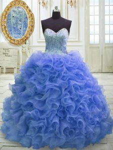 Great Blue Sleeveless Sweep Train Beading and Ruffles 15 Quinceanera Dress