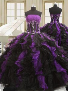 Sophisticated Black And Purple Organza Lace Up Ball Gown Prom Dress Sleeveless Floor Length Beading and Ruffles