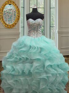 Noble Organza Sleeveless Floor Length Quinceanera Dresses and Beading and Ruffles