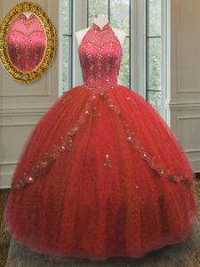 Halter Top Wine Red Sleeveless Floor Length Beading and Appliques Lace Up Quinceanera Dresses