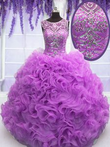 High End Scoop Sleeveless Quinceanera Gown Floor Length Beading and Ruffles Lilac Organza