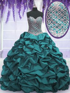 Best Selling Sleeveless Floor Length Beading and Sequins and Pick Ups Lace Up Quinceanera Gown with Teal