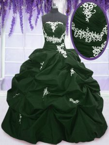 Dark Green and Peacock Green Taffeta Lace Up Strapless Sleeveless Floor Length Quinceanera Gown Appliques and Pick Ups