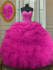 Popular Fuchsia Organza Lace Up Sweet 16 Dresses Sleeveless Floor Length Beading and Ruffles and Pick Ups