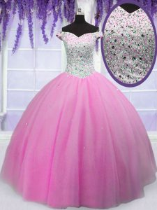 New Arrival Off the Shoulder Hot Pink Tulle Lace Up Vestidos de Quinceanera Short Sleeves Floor Length Beading