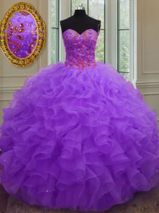 Flirting Purple Sleeveless Organza Lace Up Quinceanera Dresses for Military Ball and Sweet 16 and Quinceanera and Beach