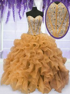 Popular Gold Ball Gowns Sweetheart Sleeveless Organza Floor Length Lace Up Beading and Ruffles Quinceanera Dress