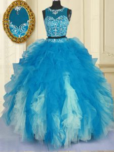 Blue And White Zipper Scoop Beading and Ruffles Quinceanera Dresses Tulle Sleeveless