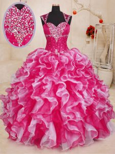 Extravagant Sleeveless Lace Up Floor Length Beading and Ruffles Ball Gown Prom Dress