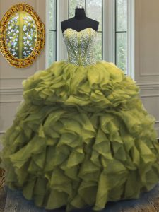 Floor Length Olive Green Quince Ball Gowns Organza Sleeveless Beading and Ruffles