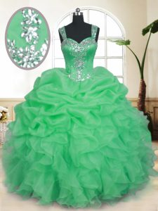 Organza Straps Sleeveless Zipper Beading and Ruffles and Pick Ups Quinceanera Gowns in
