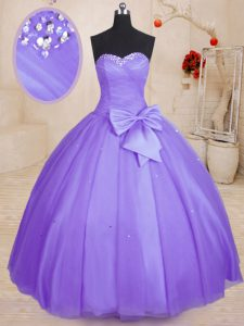 Discount Tulle Sweetheart Sleeveless Lace Up Beading and Bowknot Sweet 16 Dresses in Lavender