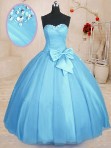 Cute Floor Length Ball Gowns Sleeveless Baby Blue 15 Quinceanera Dress Lace Up