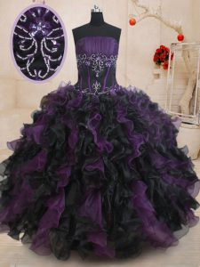 Dazzling Black And Purple Organza Lace Up Vestidos de Quinceanera Sleeveless Floor Length Beading and Ruffles