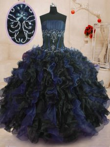 Sleeveless Organza Floor Length Lace Up Sweet 16 Dresses in Blue And Black with Beading and Ruffles