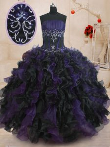Modern Strapless Sleeveless Quince Ball Gowns Floor Length Beading and Ruffles Black And Purple Organza
