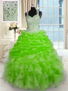 Fantastic Ball Gowns Straps Sleeveless Organza Floor Length Zipper Beading 15th Birthday Dress