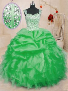 Extravagant Pick Ups Straps Sleeveless Lace Up Sweet 16 Quinceanera Dress Organza