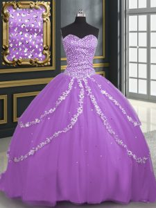 Hot Selling Lavender Sleeveless Brush Train Beading and Appliques With Train Sweet 16 Quinceanera Dress
