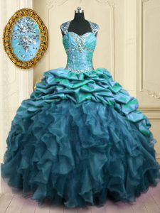 New Style Sweetheart Cap Sleeves Quinceanera Dress With Brush Train Beading and Ruffles and Pick Ups Teal Organza and Taffeta