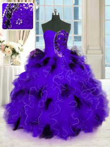 Fitting Floor Length Black And Purple Quinceanera Gown Strapless Sleeveless Lace Up