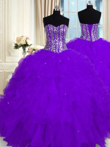 Charming Sleeveless Organza Floor Length Lace Up 15th Birthday Dress in Eggplant Purple with Beading and Ruffles
