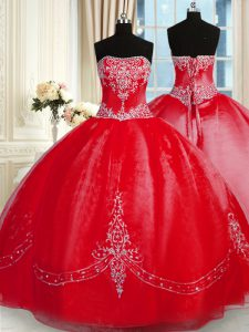 Red Tulle Lace Up 15 Quinceanera Dress Sleeveless Floor Length Beading and Embroidery