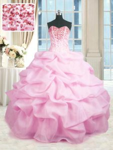 Captivating Pink Organza Lace Up Sweet 16 Dresses Sleeveless Floor Length Beading and Ruffles