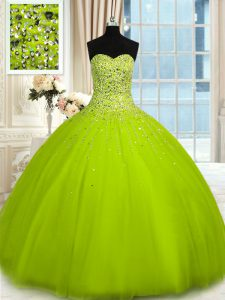 Clearance Sleeveless Beading Lace Up Quinceanera Dress