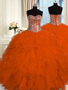 Classical Red Ball Gowns Organza Sweetheart Sleeveless Beading and Ruffles Floor Length Lace Up Vestidos de Quinceanera