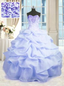 Smart Light Blue Ball Gowns Beading and Ruffles Quince Ball Gowns Lace Up Organza Sleeveless Floor Length