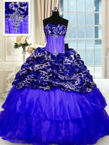 Sleeveless Organza and Printed Sweep Train Lace Up Quinceanera Gowns in Royal Blue with Beading and Ruffled Layers and Sequins