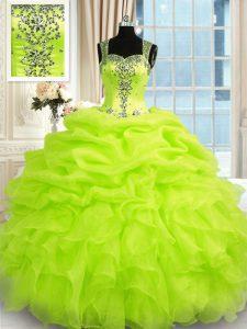 Straps Sleeveless Organza Sweet 16 Dress Beading and Ruffles Zipper
