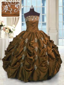 Brown Sleeveless Beading and Pick Ups Floor Length Vestidos de Quinceanera